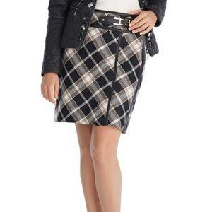 White House Black Market Plaid Tweed Skirt